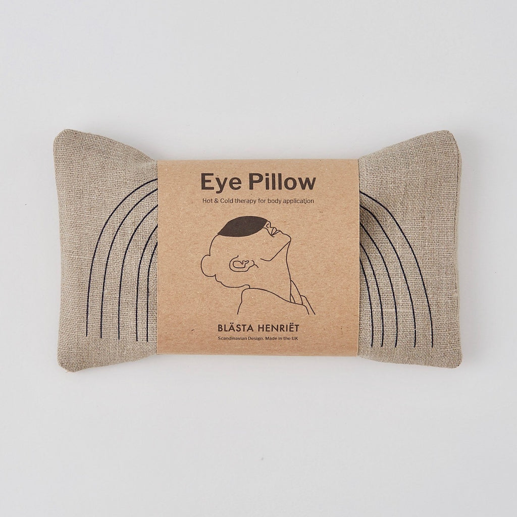 Wheat Eye Pillow with Navy Face in Linen - Piglet in Bed
