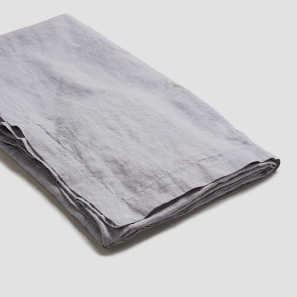 Dove Gray Linen Tablecloth - Piglet in Bed