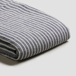 Midnight Stripe Linen Twin Duvet Cover Set