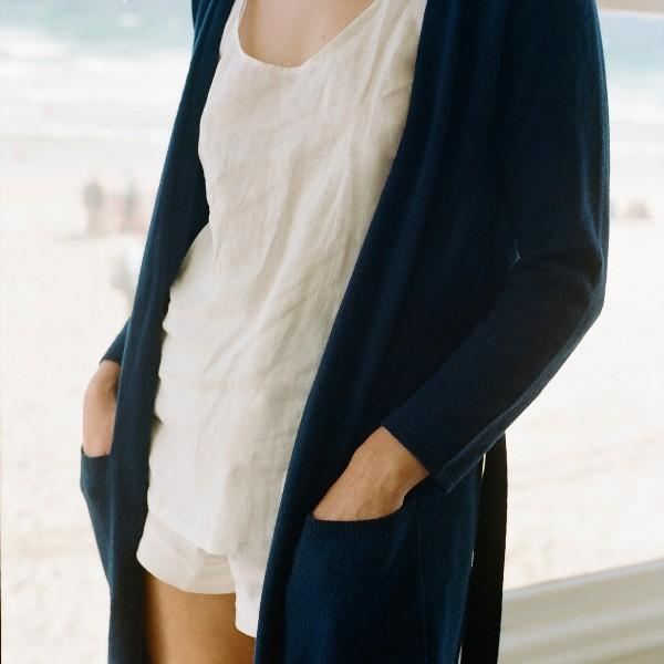 Piglet x WoolOvers Cashmere Merino Dressing Gown Neo Navy - PIGLET US
