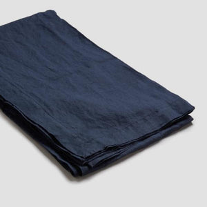 Navy Linen Tablecloth - Piglet in Bed
