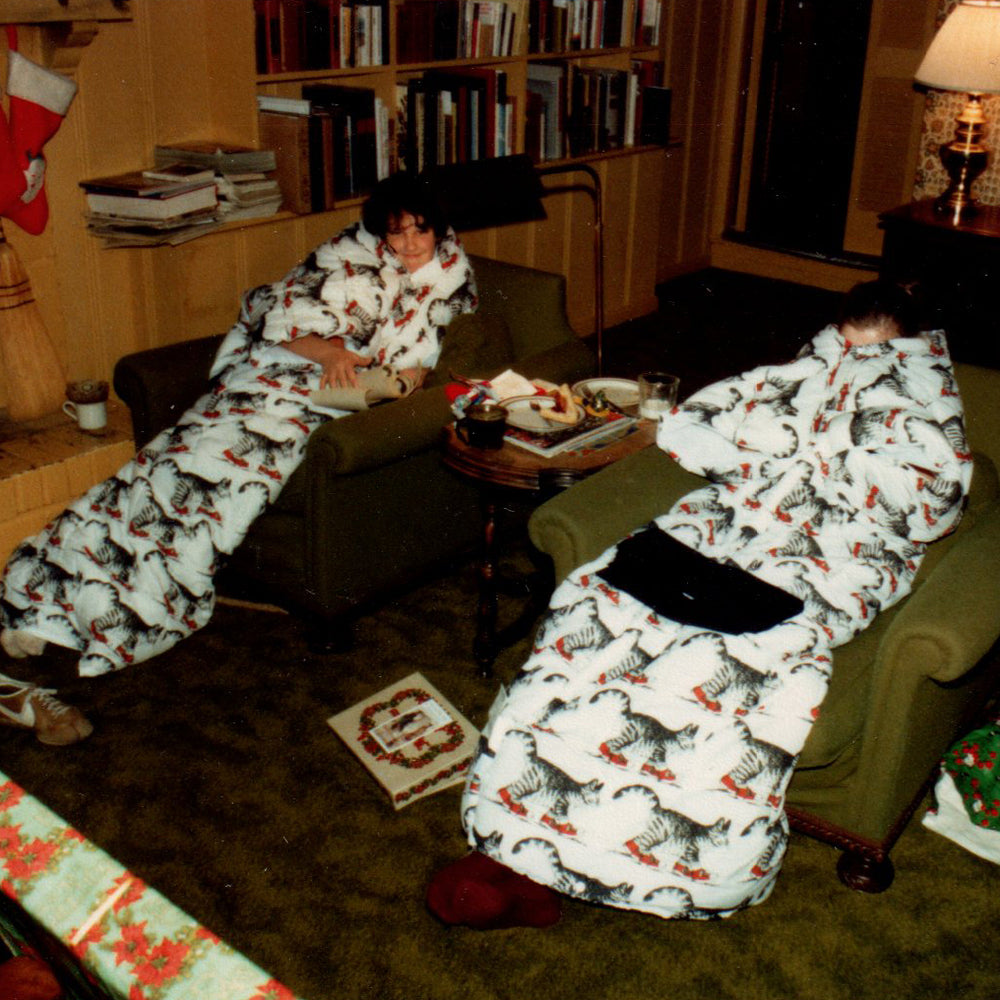 Long before The Slanket, we enjoyed these sleeping bag-like robes, decked with B.Kliban's iconic sneaker-wearing cat—very convenient for staying even warmer near the fire, but not as enduring as Mr. Dog's Christmas,or all the wonderful memories of Christmases past.