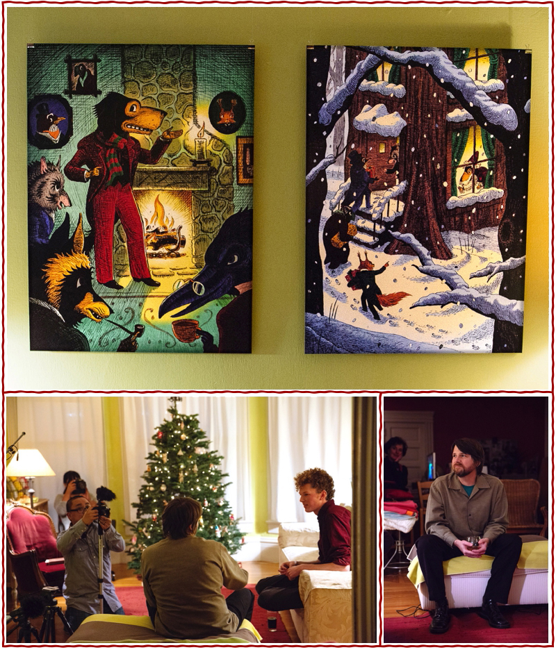 """top: Poster-sized reproductions of Adam's """"Mr. Dog Spins a Tale"""" and """"Christmas Arrival at the Old Hollow Tree"""" on display for guests at our special holiday reading party in December. bottom: Henry interviewed Adam about the illustration process while videographer Tim Prestoza captured footage for our (in-the-works!) book trailer. photos © Sarah Deragon"""