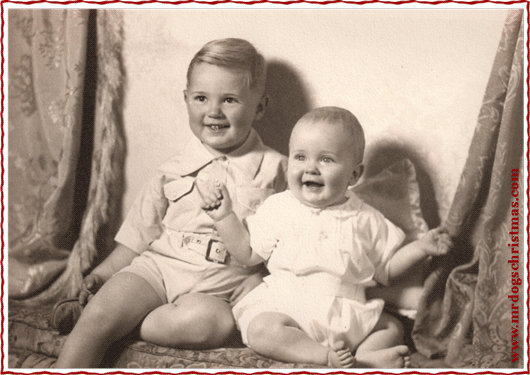 Henry's grandpa, wee Jim Luther (right) with his big brother, Jack. This must have been taken right around his very first Christmas.