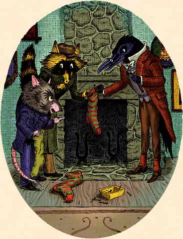 Messrs. Possum, 'Coon and Crow hang stockings
