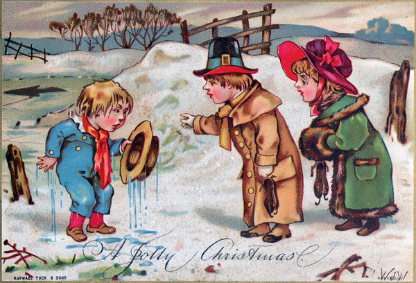 A chromolithograph Christmas card from the Victorian era