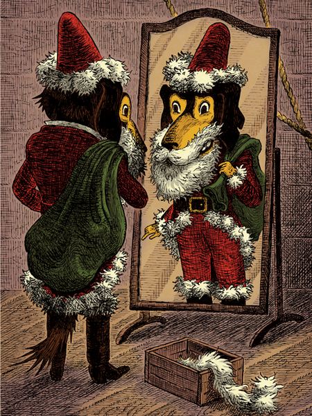 Mr. Dog in Santa Suit in Front of the Mirror