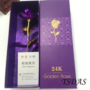 1pc Creative Valentine's Day Gift 24K Gold Plated Rose Purple - Free Shipping