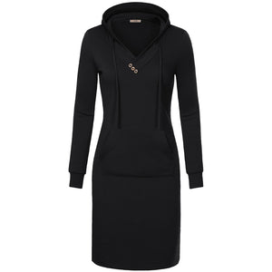 Women Long Sleeve Hooded Sweatshirt Dress Knee Length - FREE SHIPPING