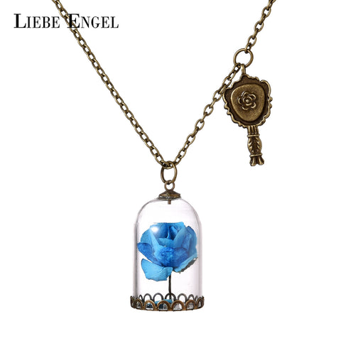 Glass Bottle Paper Flowers Necklace Beauty And The Beast - Free Shipping