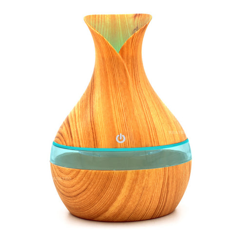 Oil Diffuser Ultrasonic Air Humidifier with Wood Grain 7 Color Changing LED Lights - FREE SHIPPING