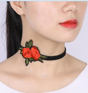 Red Flower Or Rose Velvet Choker Necklace Classic NS3893