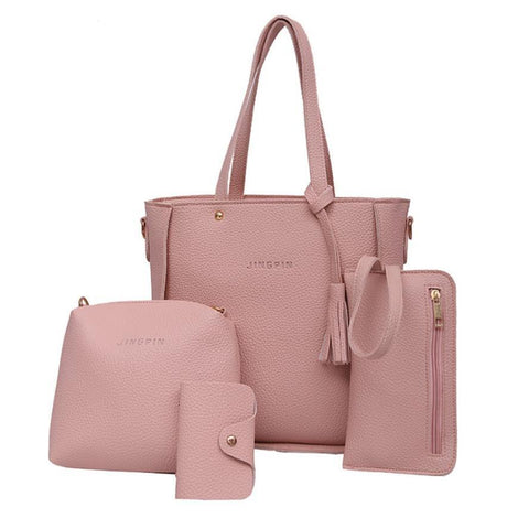 Four Pieces Leather Shoulder Bag Crossbody Wallet - 5 Colors - FREE Shipping