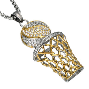 Basketball Sports Gold Pendants Necklaces For Mens  - Free Shipping
