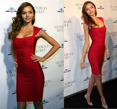 Sexy Miranda Kerr Red Rayon Bandage Dress - FREE SHIPPING
