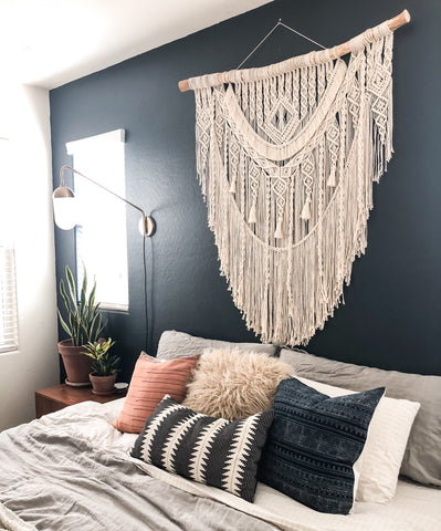macrame above bed