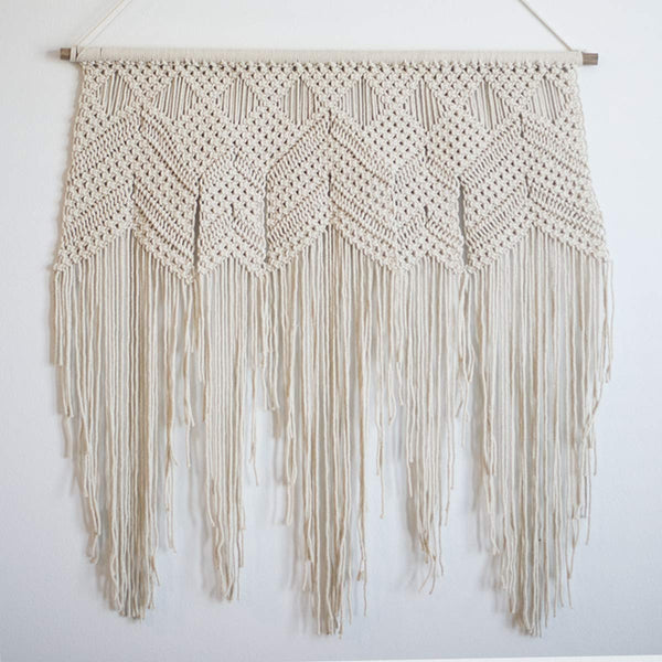 White Boho Long Macrame Wall Hanging