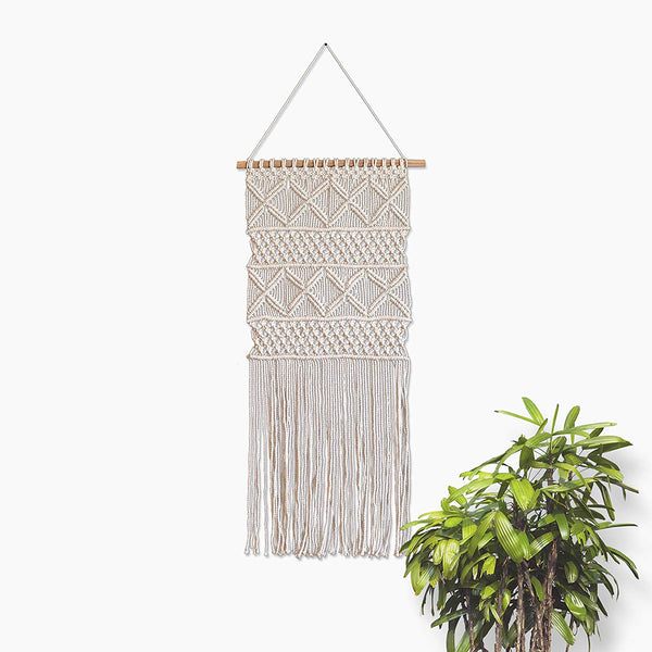 Boho White Cross  Macrame Wall Hanging