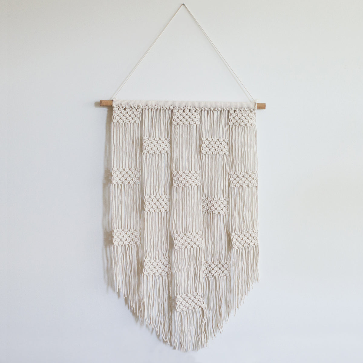 Checker White Boho Macrame Wall Hanging