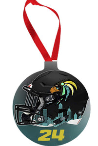 CT Falcons Round Holiday Ornament