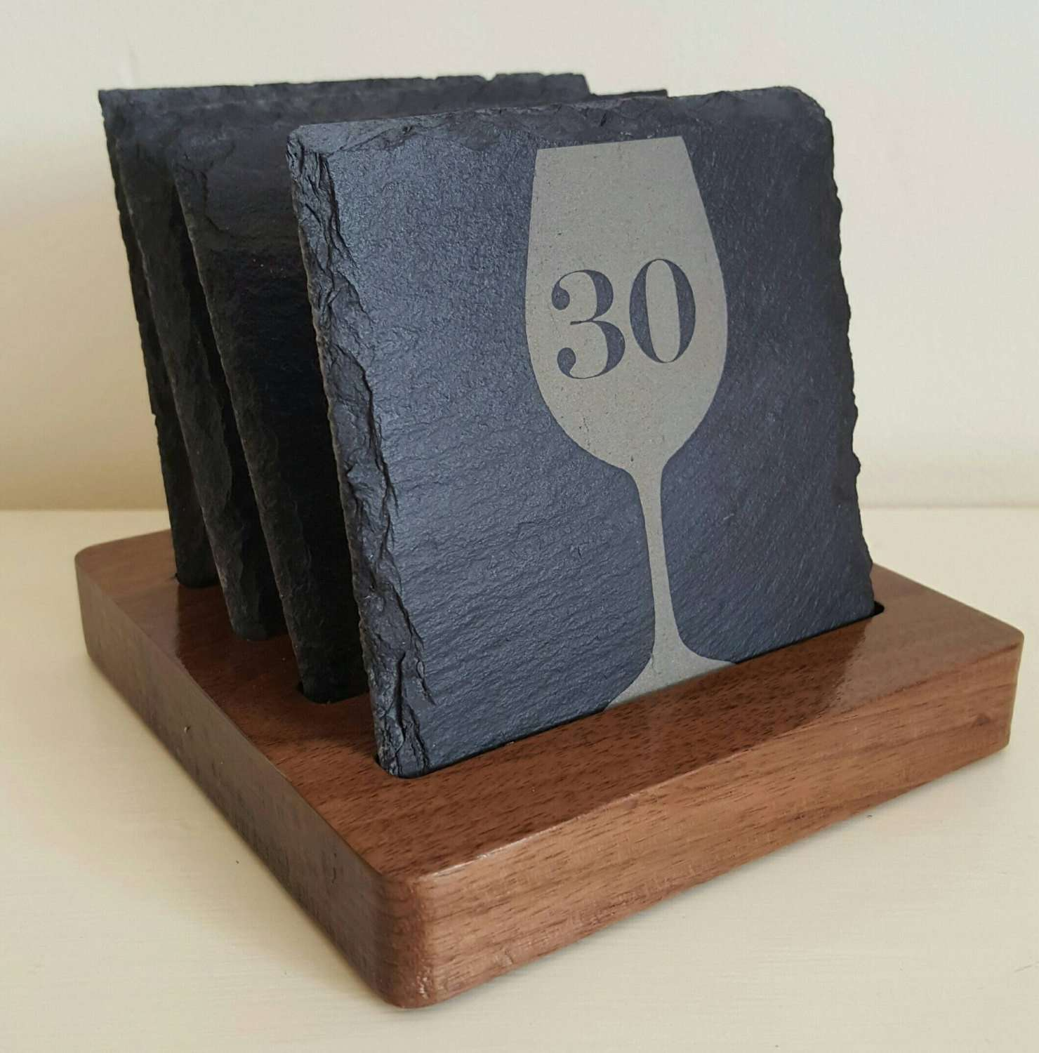Custom personalised slate coasters with oak or walnut holder. - Irish Wooden Gifts
