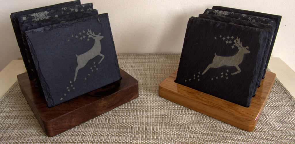 Christmas Slate Coasters with Wooden Base - Irish Wooden Gifts