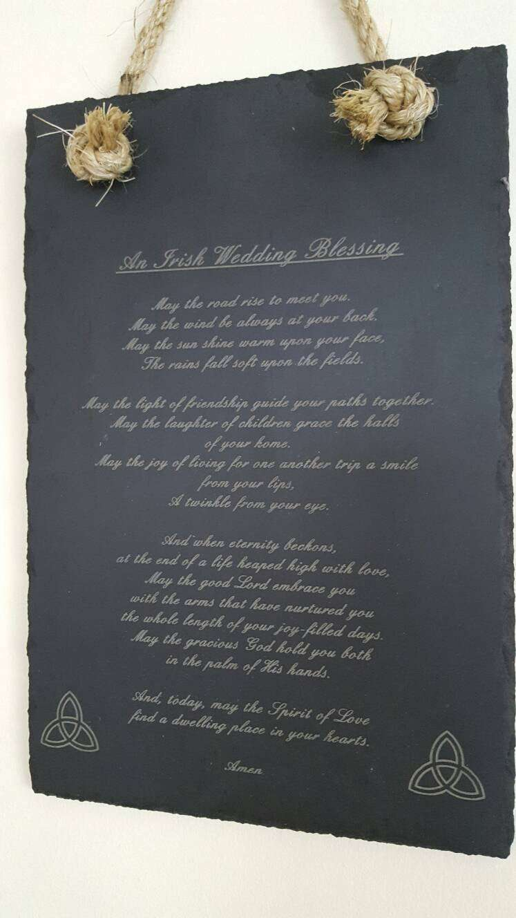 Engraved Slate with Irish Blessing and sisal rope, house warming,wedding gift, Irish wedding - Irish Wooden Gifts
