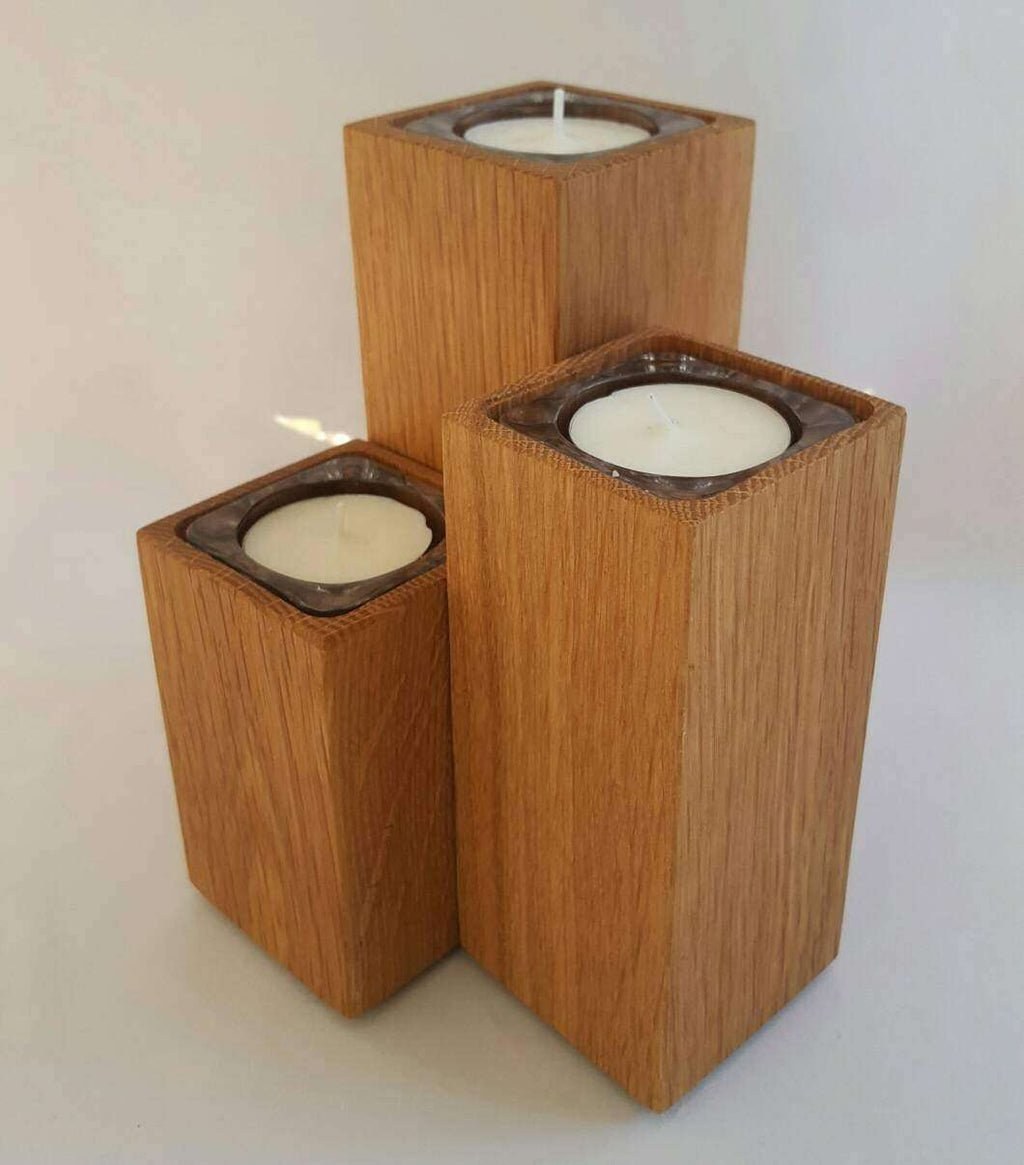 3 oak pillar tea light holders. Staggered tea light holders with glass insets 8 hour tea light. - Irish Wooden Gifts