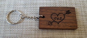 Personalised Wooden Keyring, Wooden Keyring, Engraved Keyring, Walnut Keyring, Oak Keyring - Irish Wooden Gifts