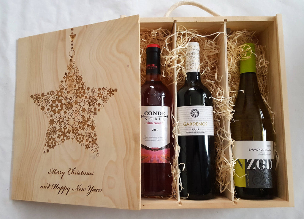 Wooden three bottle Wine Box, Christmas Wine Box, Personalised Wine Box - Irish Wooden Gifts