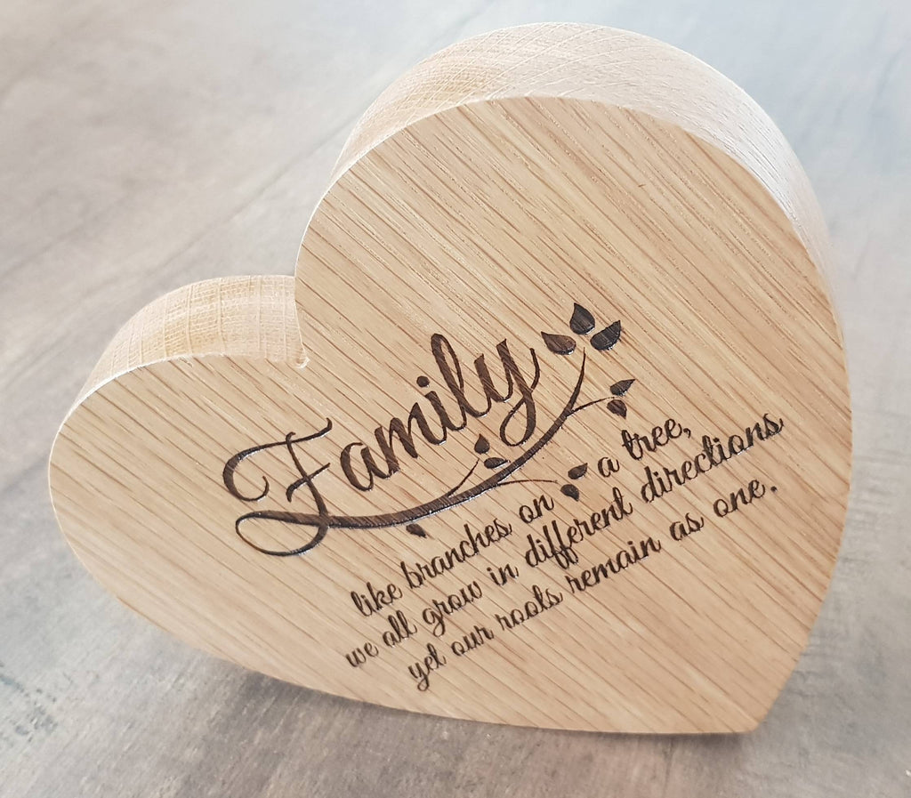 Engraved wooden heart. Personalised wooden heart. - Irish Wooden Gifts