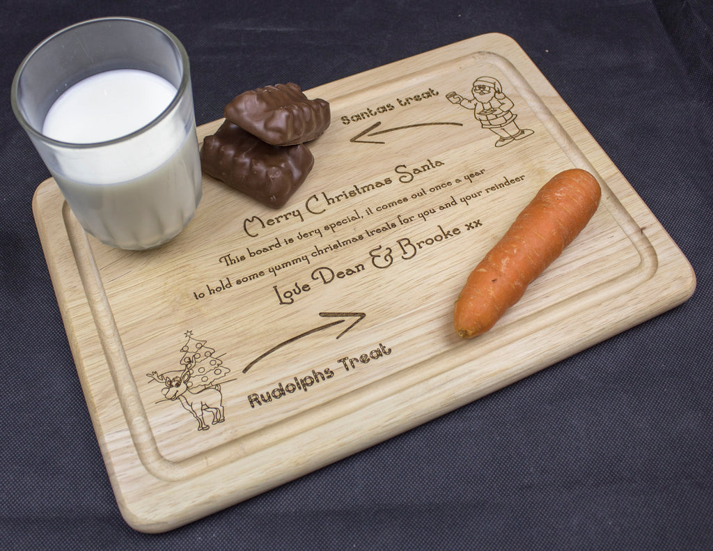 Christmas Eve Treat board, Christmas eve boards, Christmas Eve Plate, treat boards, engraved wooden Santa board, personalised board - Irish Wooden Gifts
