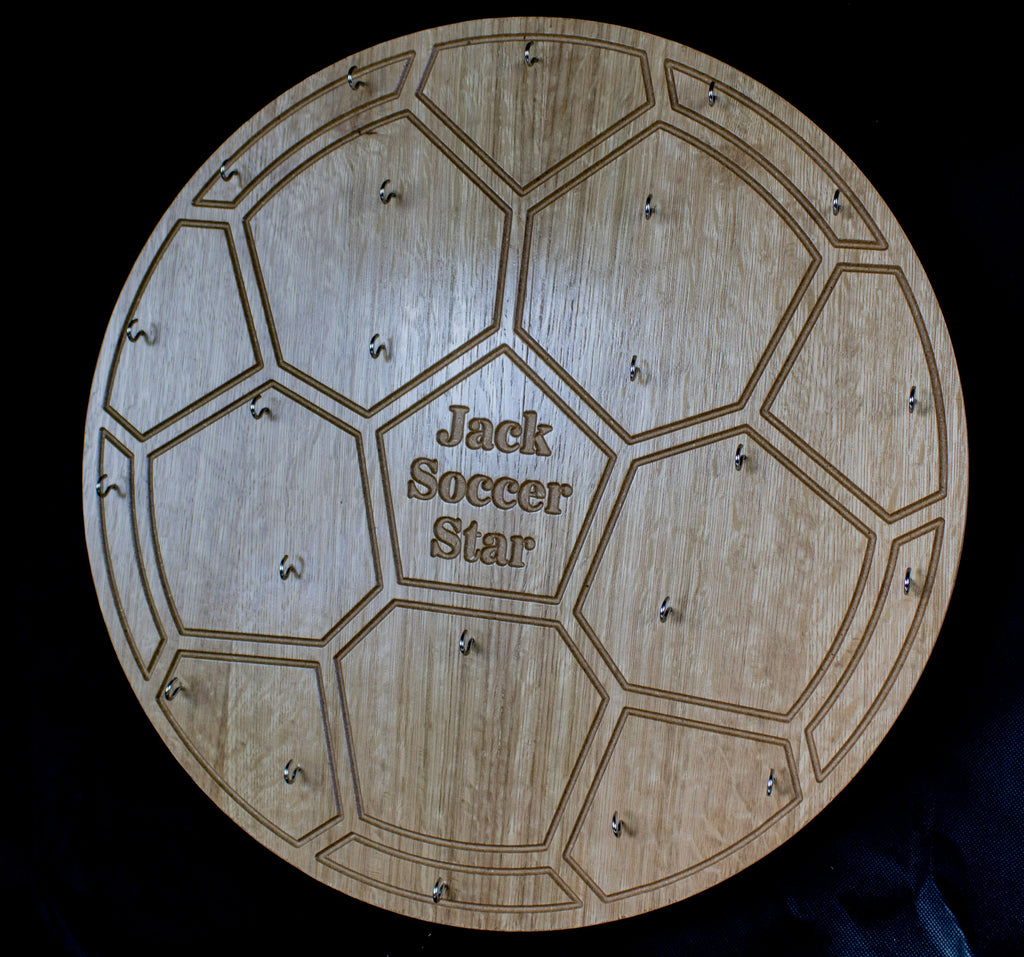 Soccer Medal Board engraved with name,Fotoball Medal Board, Sports Medal Board, Football Medal Display, Medal DIsplay - Irish Wooden Gifts