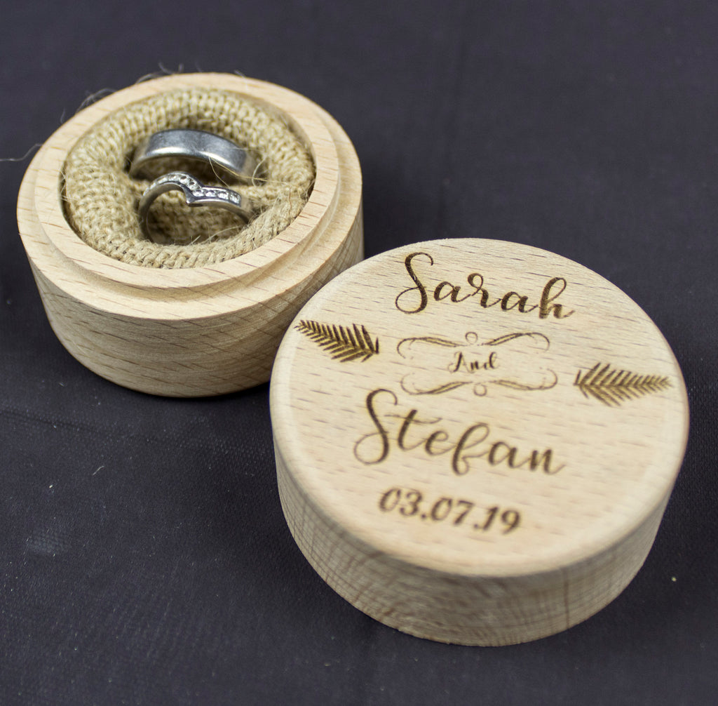 Personalised Wedding Ring Box, Custom Ring Bearer Box, Proposal Box - Irish Wooden Gifts