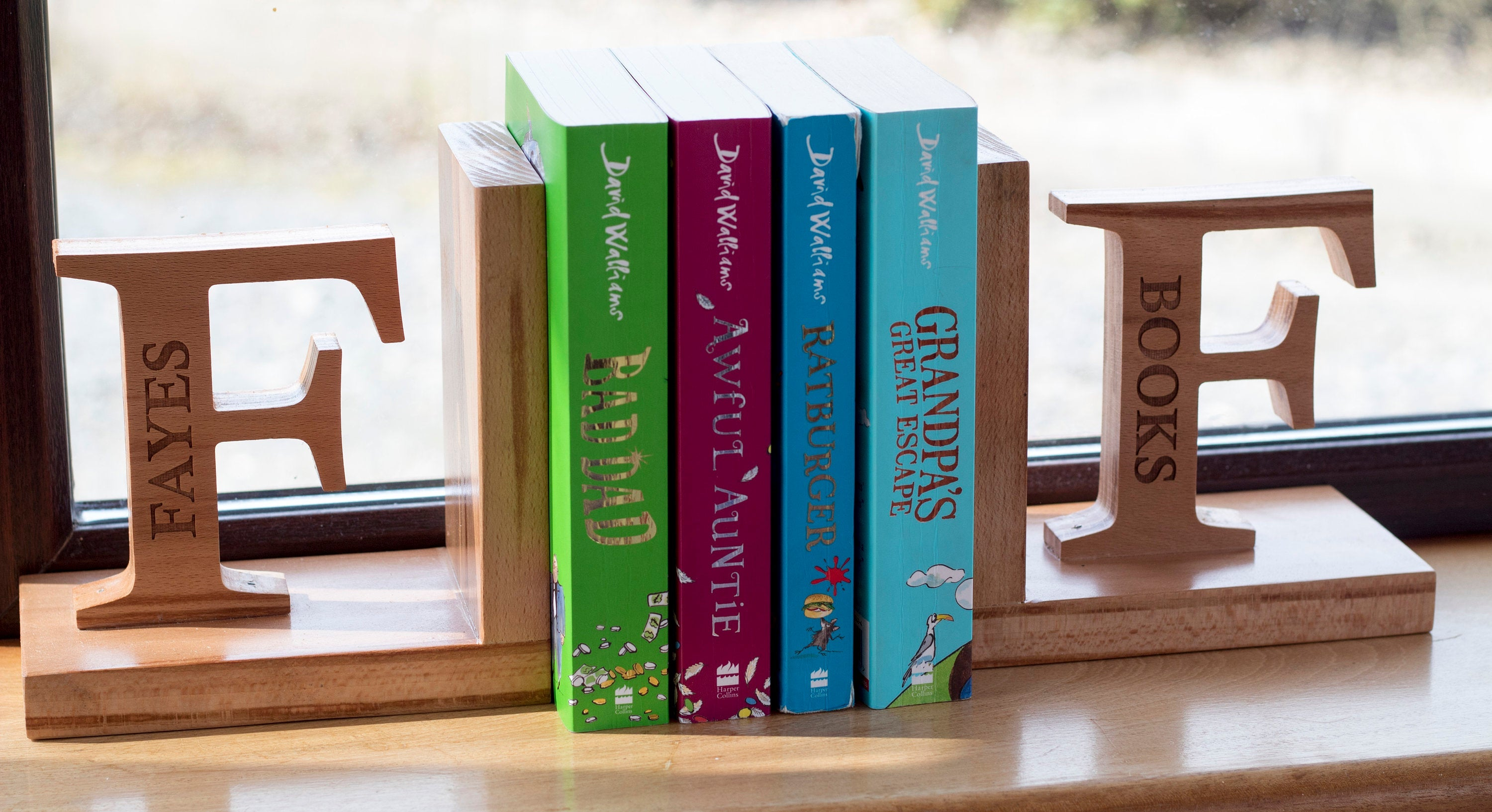 Personalised Wooden Bookends - Irish Wooden Gifts