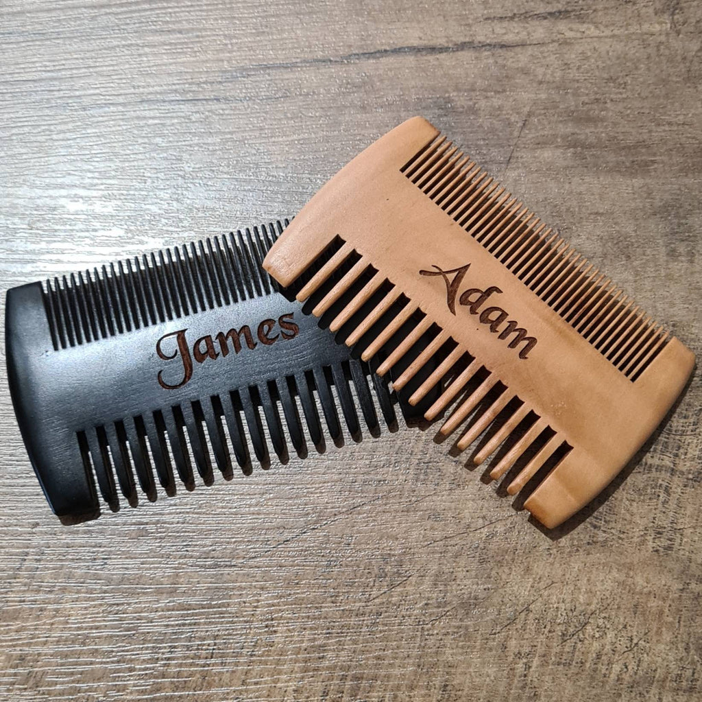 Personalised wooden beard comb. Mustache comb