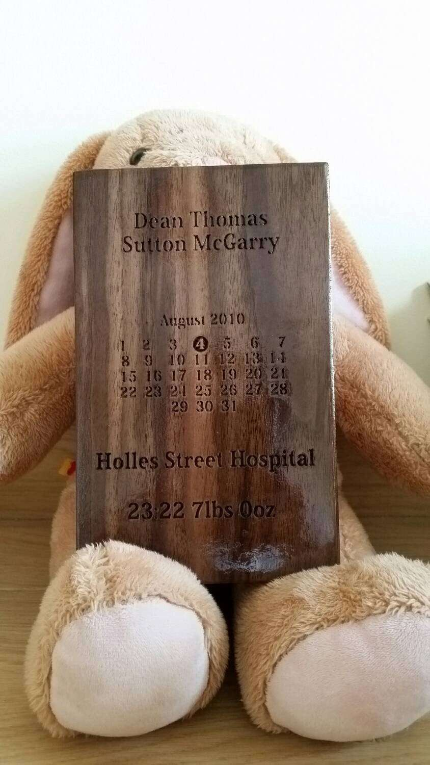 Personalised Wooden Plaque. Baby baptism newborn birthday baby shower custom engraved. - Irish Wooden Gifts