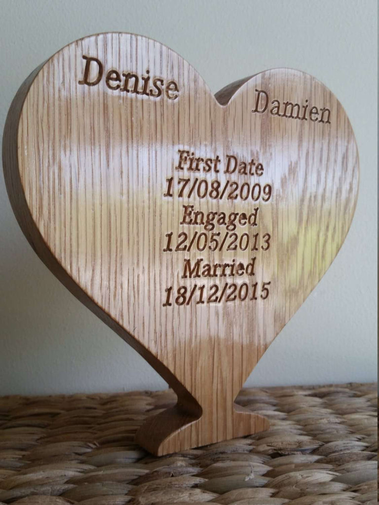 Personalised Engraved Wooden Heart - Irish Wooden Gifts