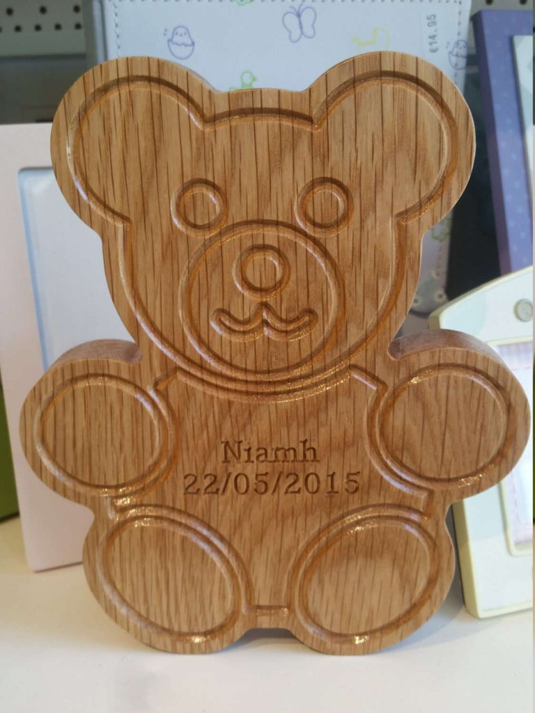 Personalised Wooden Bear. Baby baptism newborn birthday baby shower custom engraved. - Irish Wooden Gifts