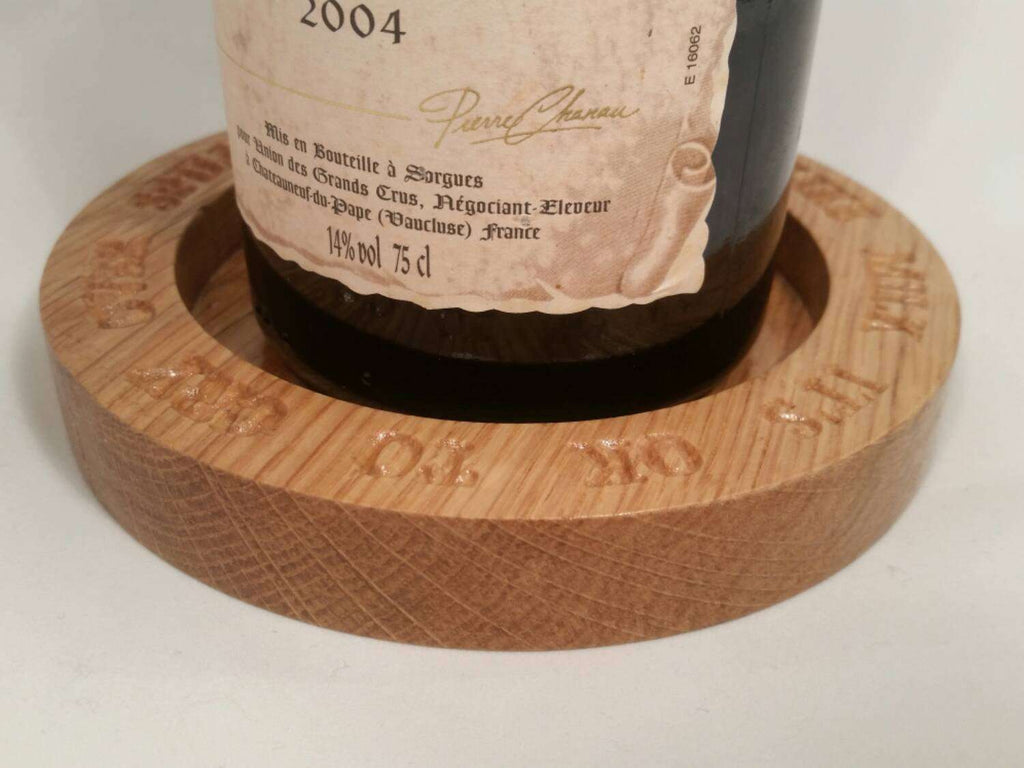 Unique Personalised Wine Bottle Coaster / Drip Catcher - Irish Wooden Gifts