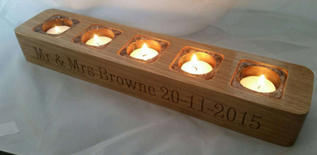 Wooden Candle / Tealight holder. Solid oak / walnut. Personalised Engraved gift. - Irish Wooden Gifts