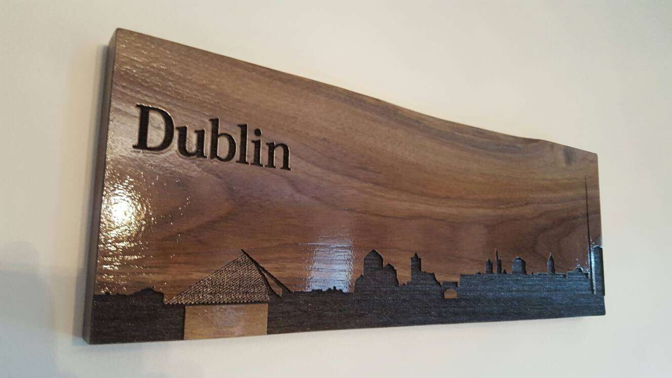 City Silhouette, City Skyline, City Outline, City engraving, wall art, made from solid walnut. - Irish Wooden Gifts