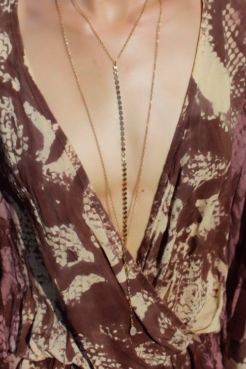 Amber Long Necklace Moonstone Brooke Landon Jewelry