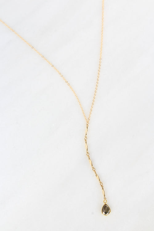 Amber Long Necklace | Pyrite