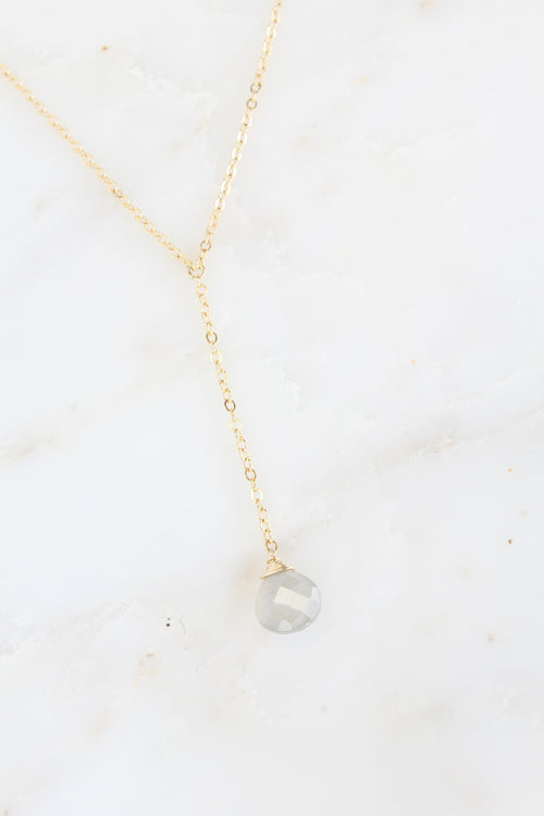 Audrey Necklace Gray Moonstone Brooke Landon Jewelry