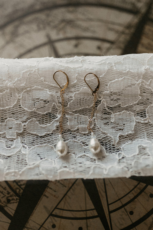 Blake Earrings Pearl & Moonstone Brooke Landon Jewelry