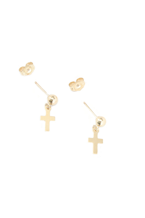 Cross Charm Stud Earrings