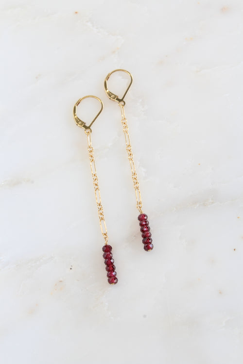 Gold Jada Earrings Garnet Brooke Landon Jewelry