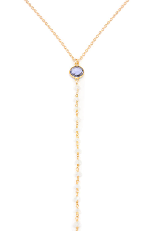 Gold Leila Necklace Moonstone Iolite Brooke Landon Jewelry