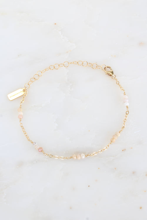 Gold Lilly Bracelet Pink Opal Brooke Landon Jewelry